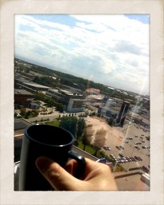 A cup of coffee with a view from Tradecenter, Halmstad in the background...